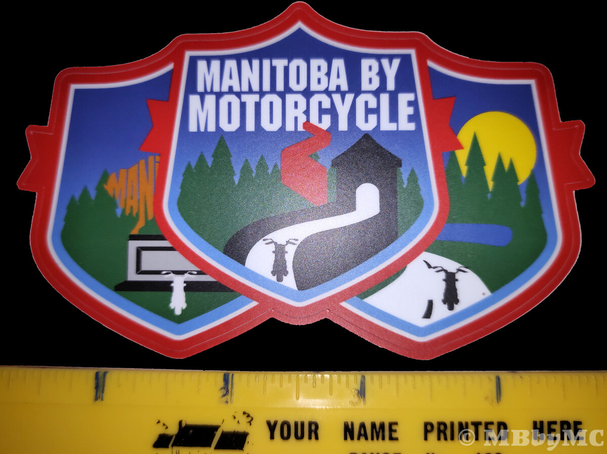 Manitoba by Motorcycle Decal Size